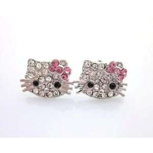 Adorable Hello Kitty Crystal Earrings Stud with Pink Bow Jewelry
