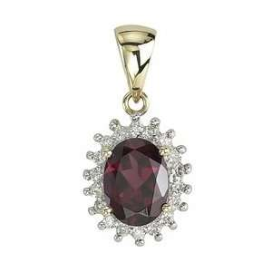 14K Yellow Gold Oval Shape Garnet & Diamond Pendant