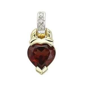 Yellow Gold Heart Shape Garnet Pendant & Diamond Bail