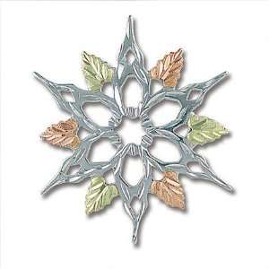 Black Hills Gold and Silver Snowflake Brooch Pin   PN413SS Jewelry