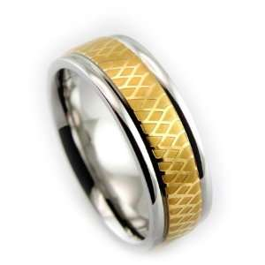Mens Titanium Ring 7mm Infinity Gold Plated Inlay Polished Grooved