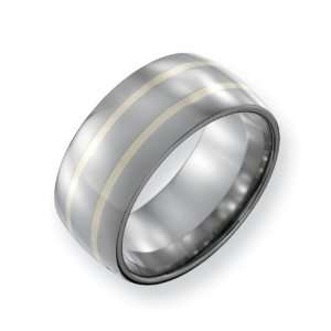 Titanium 14k Gold Inlay 10mm Polished Comfort Fit Wedding Band Ring