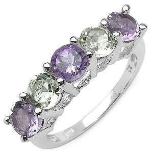 40 Carat Genuine Purple Amethyst & Green Amethyst Sterling Silver Ring
