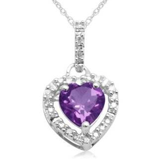 Gold Heart Shaped Amethyst with Diamonds Heart Pendant, 18 Jewelry