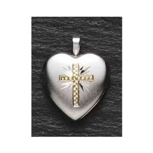 Heart Shaped Locket with Gold Cross Design Pendant Necklace Home