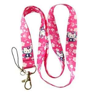 1 Pc Hello Kitty Pink White Flowers Lanyard Keychain