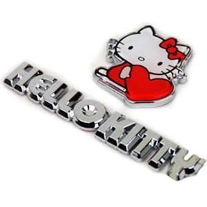 Chrome Decal Emblem   2 in 1 Set   Hello Kitty & Heart Automotive