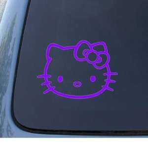 HELLO KITTY FACE   5.5 PURPLE Decal   Cat Feline   Car, Truck