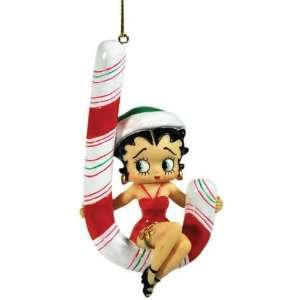 Holiday Christmas Tree Ornament with Betty Boop Swinging on Candy Cane