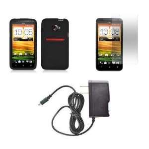 HTC EVO 4G LTE (Sprint) Premium Combo Pack   Black Silicone Skin Case