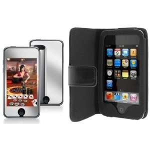 Wallet Folio Leather Case + Mirror Screen Protector for Apple Ipod