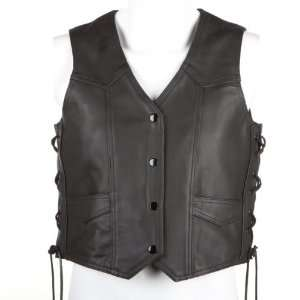 River Road Womens Plain Leather Vest   X Large/Black Automotive