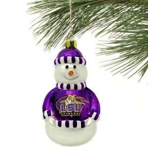 LSU Tigers Blown Glass Snowman Ornament