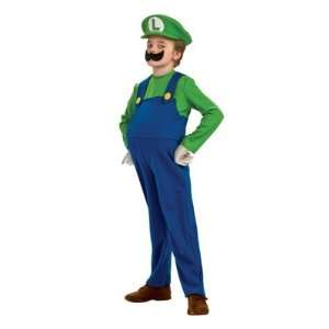 Super Mario Deluxe Luigi Child Costume Size Medium Toys & Games