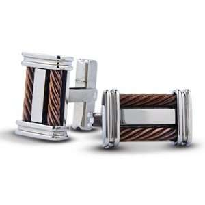 Mens Stainless Steel Brown Cable Cufflinks Jewelry