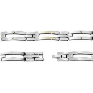 Mens Stainless Steel and 14kt Yellow Gold Link Bracelet Jewelry