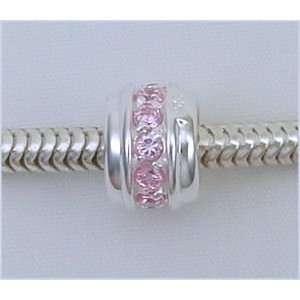 LIGHT PINK ROSE 925 Silver Charm Bead for Troll Biagi