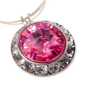 Crystal Framed Pink Swarovski Pendant Necklace Fashion