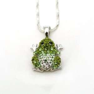 Swarovski Crystal Frog Pendant Necklace Jewelry