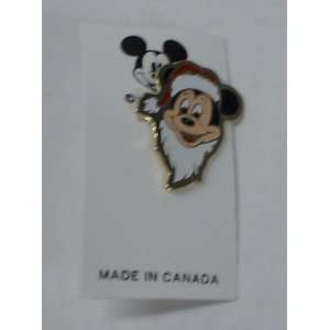 Vintage Enamel Pin  Disney Mickey Mouse Santa Claus