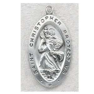 Mens Sterling Silver Catholic Saint Christopher Patron Saint Medal