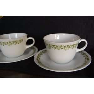 Set of 2 Vintage Corelle Spring Blossom Green Cups and Saucers / Mugs