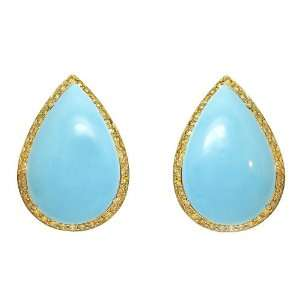 Costagli Pear Shaped Turquoise & Yellow Diamond Earrings Jewelry