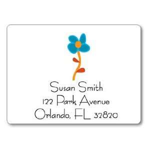 Polka Dot Pear Design   Square Stickers (Blue Flower