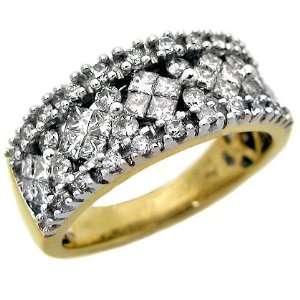 1.30ct Princess Cut Round Diamond Ring Band 14k Yellow