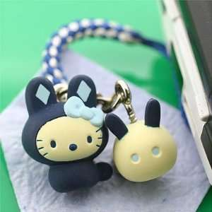 Sanrio Hello Kitty Japanese Rabbit Netsuke Cell Phone Strap, Indigo