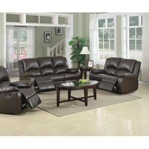 Leather Sofa & Loveseat & Chair Set with 4 Recliners