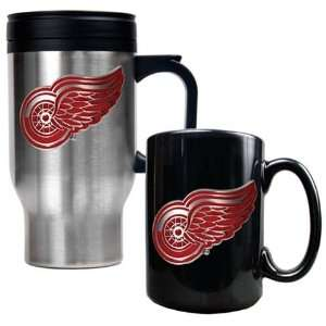 Detroit Red Wings Coffee Cup & Travel Mug Gift Set: Sports