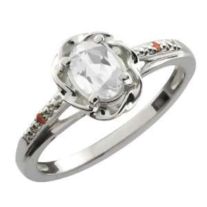 Ct Oval White Topaz Cognac Red Diamond Sterling Silver Ring Jewelry
