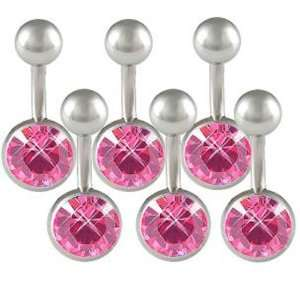 8mm) long   Rose Swarovski Crystal 316L Surgical Stainless Steel belly