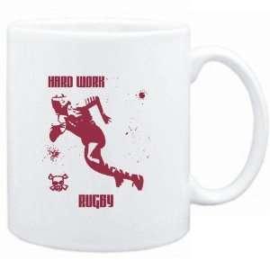 Mug White  HARD WORK Rugby  Sports Sports & Outdoors