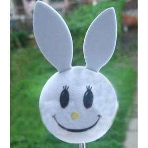Rabbit Bunny Face White Car Truck SUV Antenna Topper Automotive