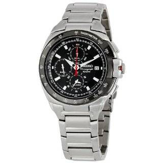 Seiko Mens Chronograph Black Carbon Dial Watch SND703 Seiko Watches
