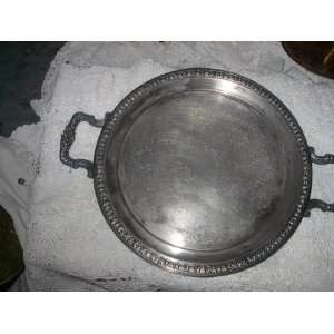 Rogers Silver Co. Round Silver on Copper Serving Tray