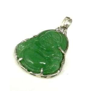 Green Jade Happy Buddha Designed Sterling Silver Pendant Necklace
