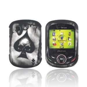 Skull on Gray Rubberized Hard Plastic Case Snap On Cover Electronics