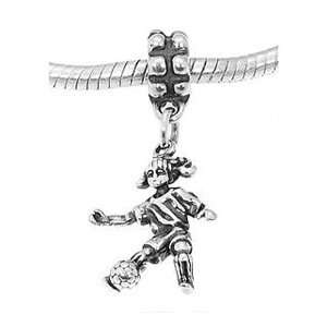 Sterling Silver Girl Soccer Player Dangle Bead Charm Jewelry