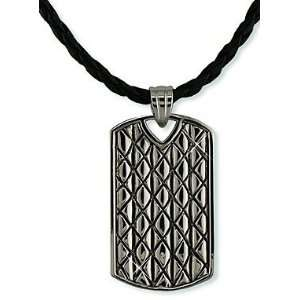 TEEN BOYS BOLD 22 RHODIUM / STAINLESS STEEL DOG TAG LEATHER NECKLACE