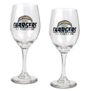 San Diego Chargers NFL 2pc Wine Glass Set   Primary Logo