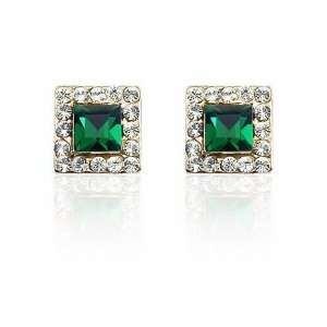 Green Crystal Square Earrings Used Swarovski Crystals