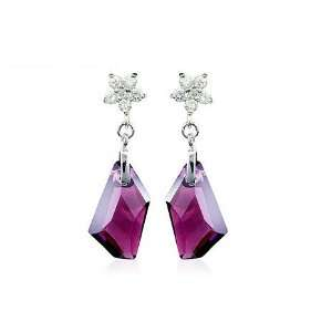 Purple Silver Crystal Earrings Used Swarovski Crystals