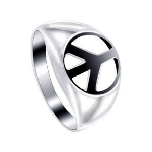 Sterling Silver 5mm Wide Peace Symbol Band Ring Size 7