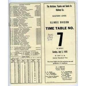 Topeka and Santa Fe Railway Company Employee Time Table July 2, 1978