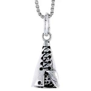 925 Sterling Silver Indian Tent Pendant (w/ 18 Silver Chain), 11/16