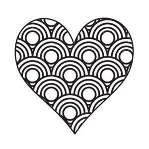 Things Clear Stamp 2X2 Scallop Heart; 6 Items/Order Arts, Crafts