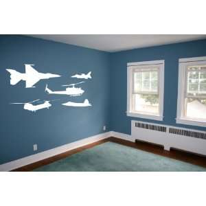 Military Aircraft (Airforce) Jets and Helicopters Set   Wall Decal